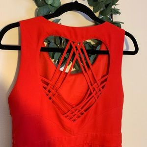 Tea and Cup Red Heart Dress, Sz L